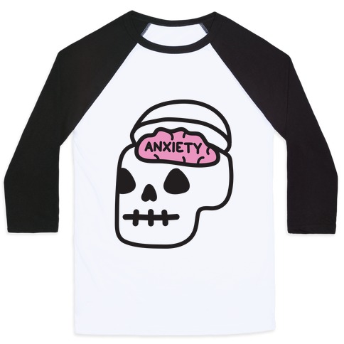 Anxiety Holder (Skull) Baseball Tee