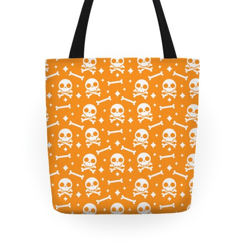 Cute Skull N' Bones Pattern (Orange) Tote