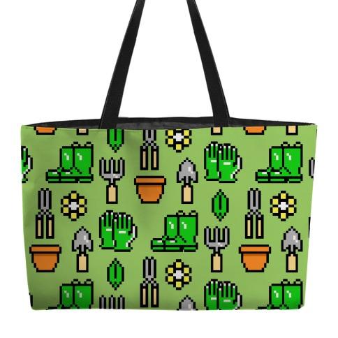 Pixel Gardening Tool Pattern Weekender Tote