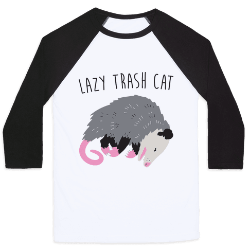 Lazy Trash Cat Baseball Tee