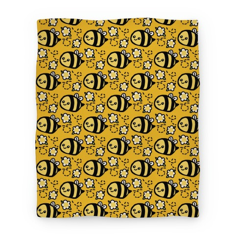 Cute Bumble Bee and Flower Pattern Blanket Blanket