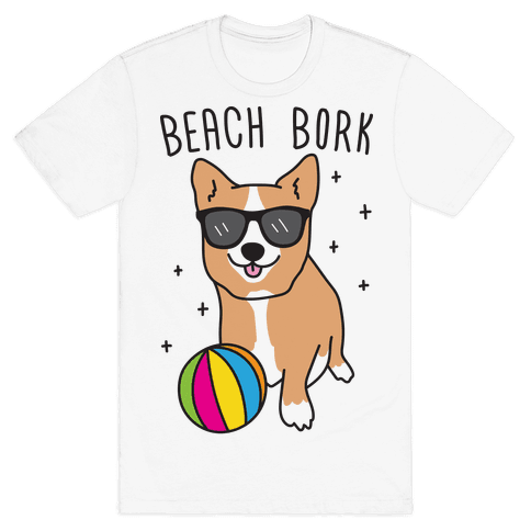 Beach Bork Corgi Mens T-Shirt