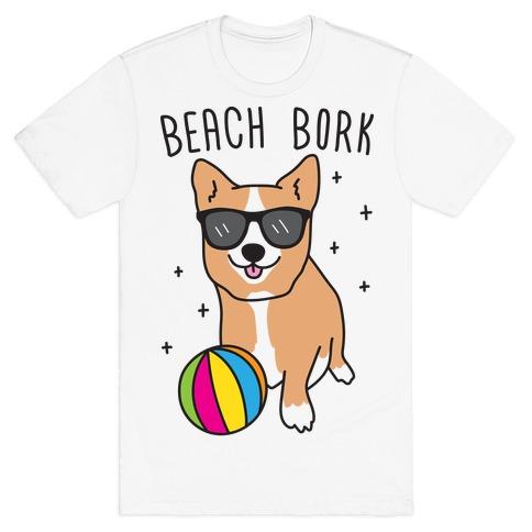 Beach Bork Corgi Mens T-Shirt