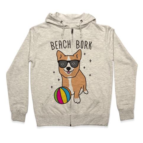 Beach Bork Corgi Zip Hoodie