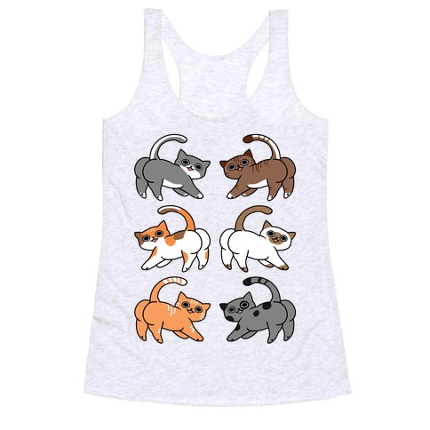 Cats With Buttcheeks Racerback Tank Top