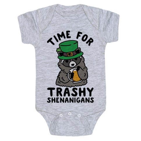 Time For Trashy Shenanigans Racoon Baby Onesy