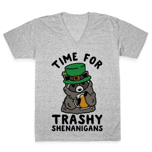 Time For Trashy Shenanigans Racoon V-Neck Tee Shirt