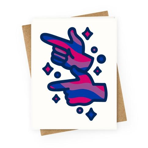 Bisexual Pride Finger Guns Greeting Card