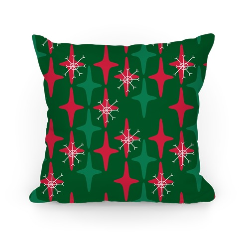 Retro Christmas Sparkle Pattern Pillow