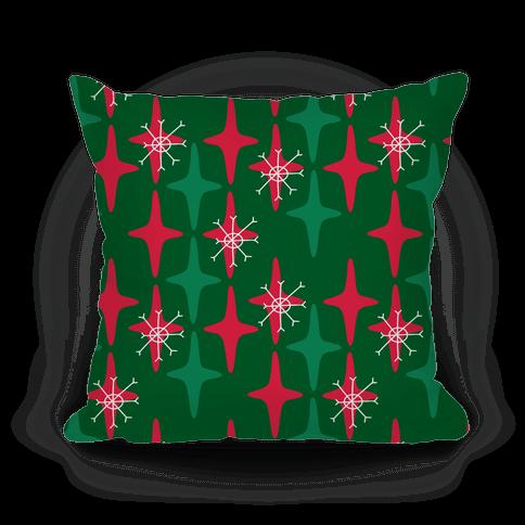Retro Christmas Sparkle Pattern Pillow