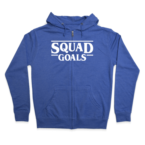 Stranger Squad Goals Parody (White) Zip Hoodie