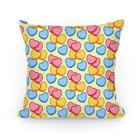 Candy Hearts Pattern Yellow Pillow