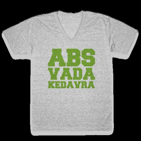 Abs Vada Kedavra Parody V-Neck Tee Shirt