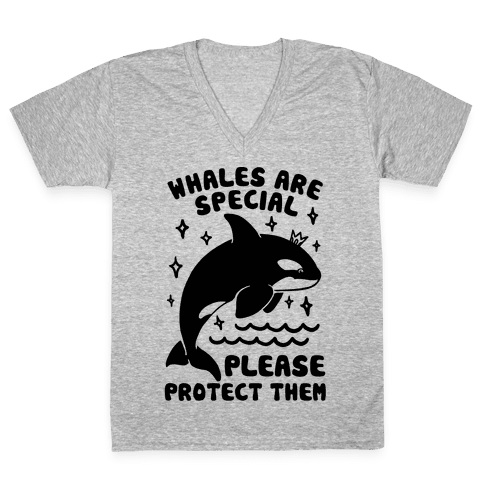 Whales Are Special Please Protect Them V-Neck Tee Shirt