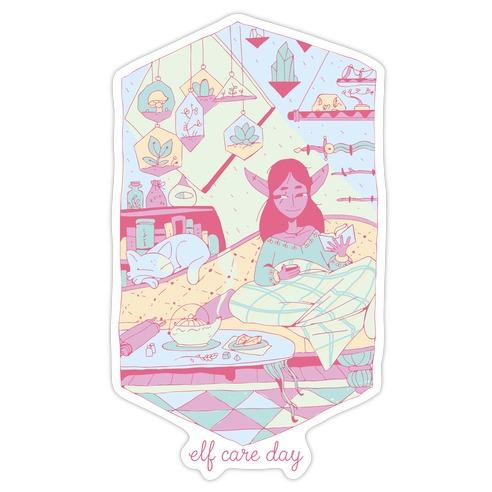 Elf Care Day Die Cut Sticker