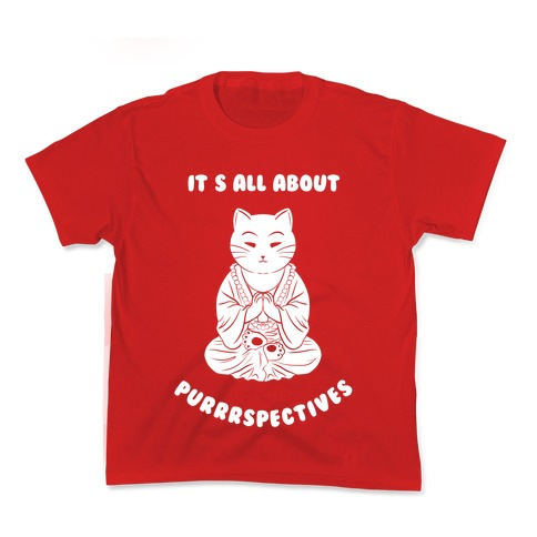 It's All About Purrrspectives (white) Kids T-Shirt
