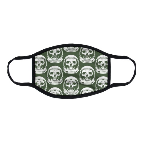 Skulls in Astronaut Pattern Green Flat Face Mask