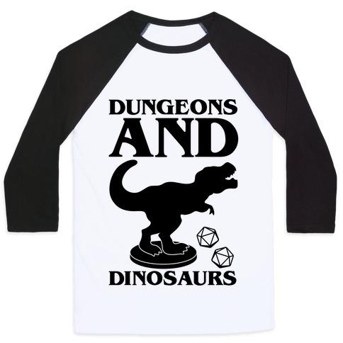 Dungeons and Dinosaurs Parody Baseball Tee
