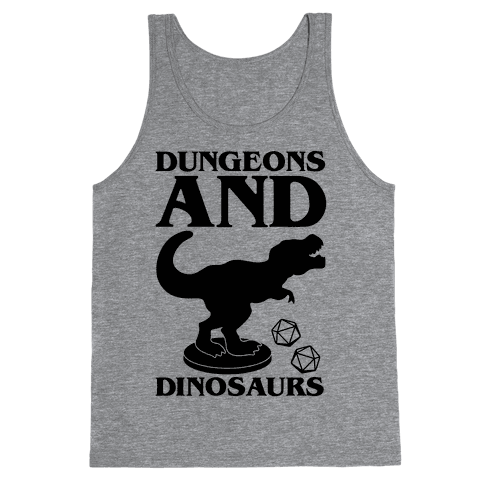 Dungeons and Dinosaurs Parody Tank Top