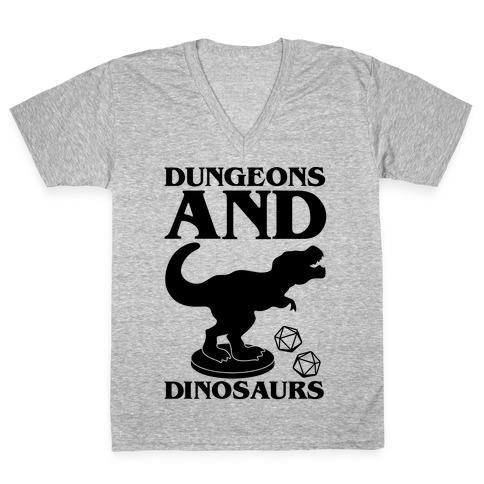 Dungeons and Dinosaurs Parody V-Neck Tee Shirt