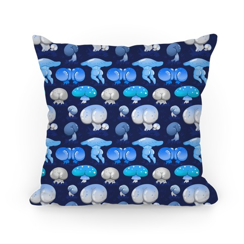 Butt Mushroom Pattern blue Pillow