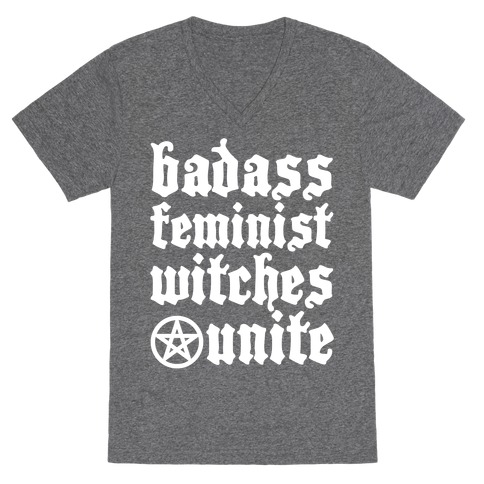 Badass Feminist Witches Unite V-Neck Tee Shirt