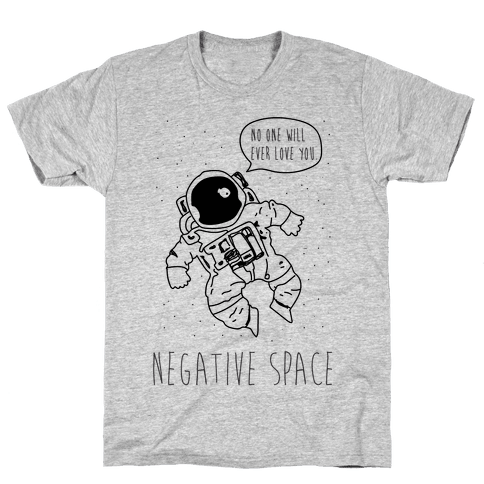 Negative Space Black Mens T-Shirt