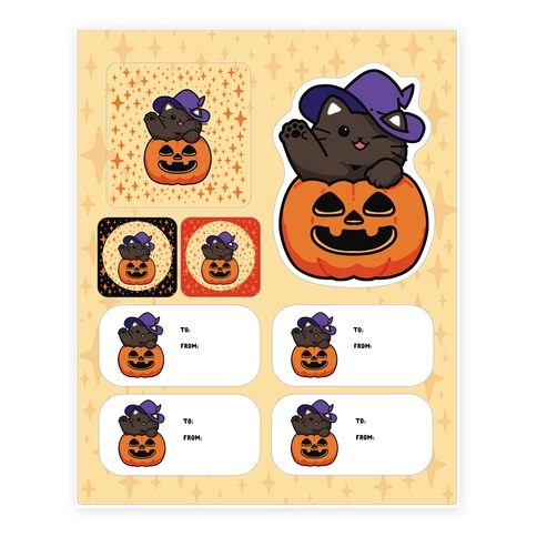 Cute Halloween Cat Stickers and Decal Sheet
