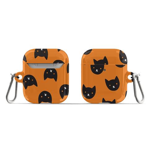 Black Cat Face Pattern AirPod Case