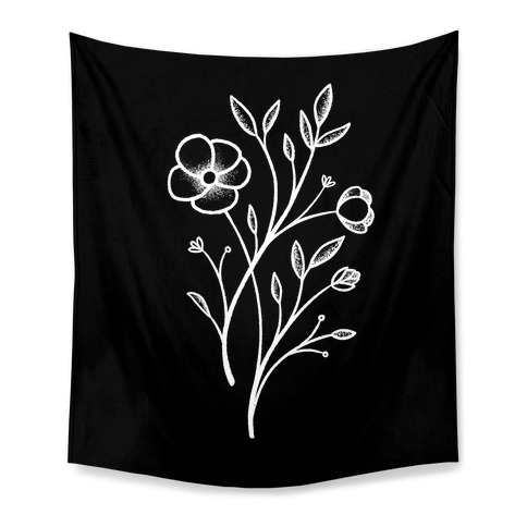 Wildflower Stippled Tattoo Tapestry