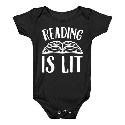 Reading Is Lit White Print Baby Onesy