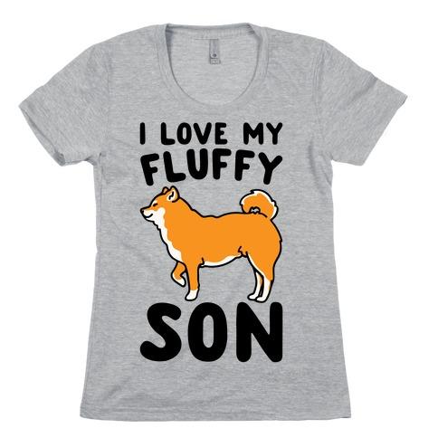 I Love My Fluffy Son Shiba Inu Womens T-Shirt