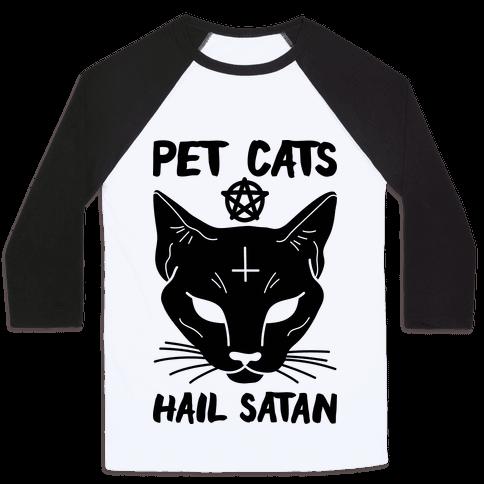Pet Cats Hail Satan Sphynx Baseball Tee