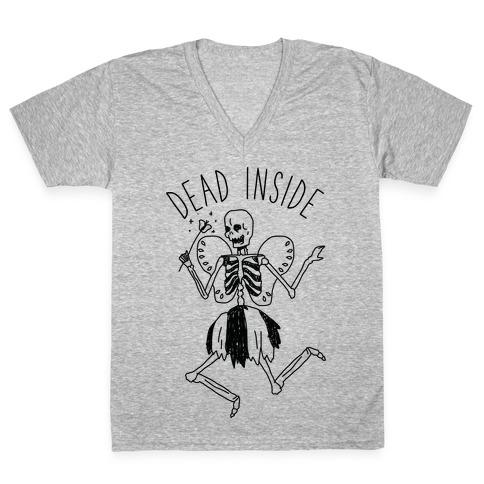 Dead Inside Skeleton Fairy V-Neck Tee Shirt