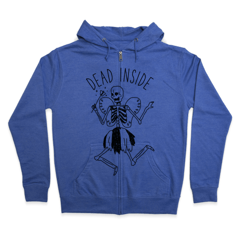 Dead Inside Skeleton Fairy Zip Hoodie
