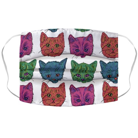 Colorful Kitten Square Pattern Accordion Face Mask