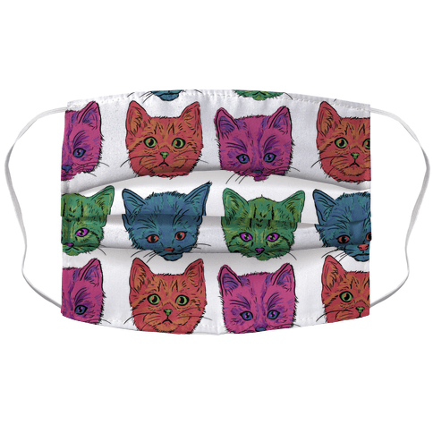 Colorful Kitten Square Pattern Face Mask Cover