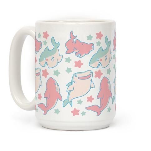Happy Shark Pattern Coffee Mug