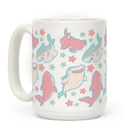Happy Shark Pattern Coffee Mug
