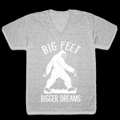 Big Feet Bigger Dreams Bigfoot V-Neck Tee Shirt