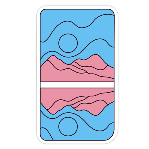 Groovy Pride Flag Landscapes: Trans Flag Die Cut Sticker