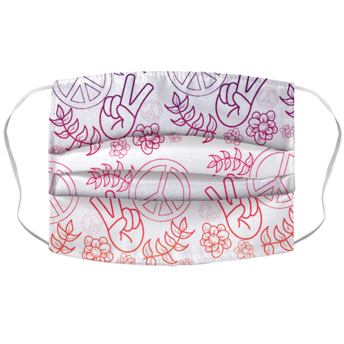 Hippie Peace Pattern Sunset Gradient Face Mask Cover