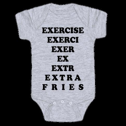 Exercise Extra Fries Baby Onesy