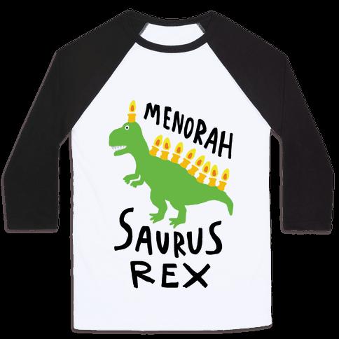 Menorah Saurus Rex  Baseball Tee