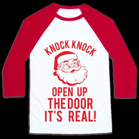 Knock Knock Santa Baseball Tee