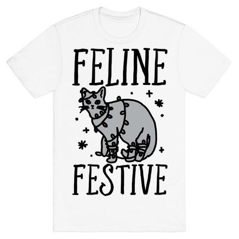 Feline Festive  Mens T-Shirt