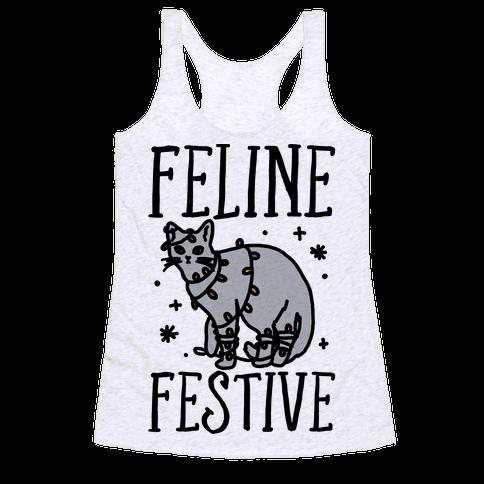 Feline Festive  Racerback Tank Top