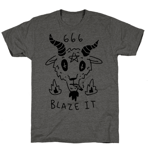 666 Blaze It Satan Mens T-Shirt