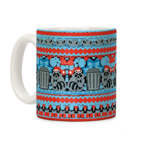 Raccoon Ugly Christmas Sweater Coffee Mug