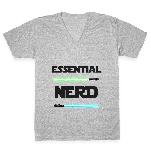 Essential Nerd Star Wars Parody Lightsaber V-Neck Tee Shirt